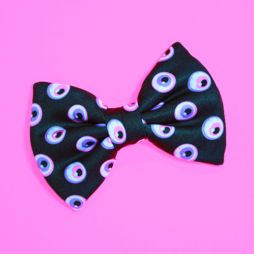 Micro Mini Black Eyeball Hair Bow by misstaraleexo