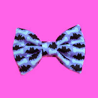 Micro Mini Lilac Bats N' Bones Hair Bow