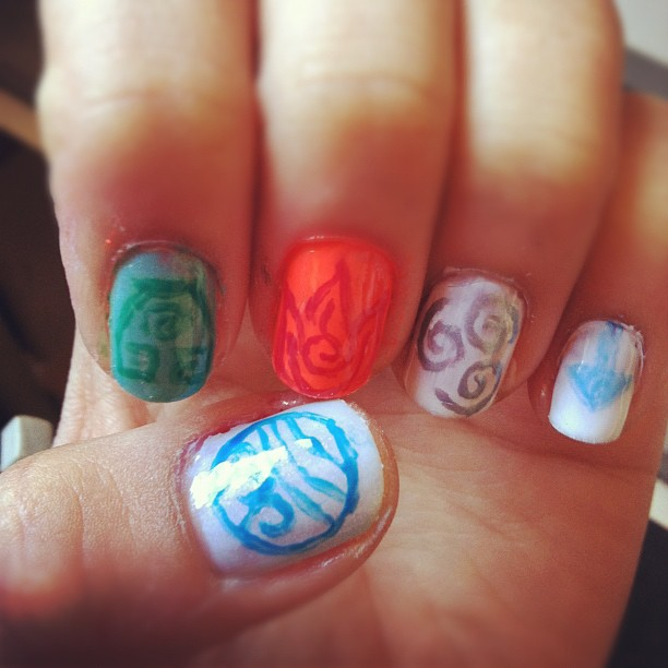 Avatar The Last Airbender Elements Nail Art By Juniehearts On