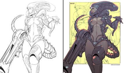 Commission - Alien Girl by kasai