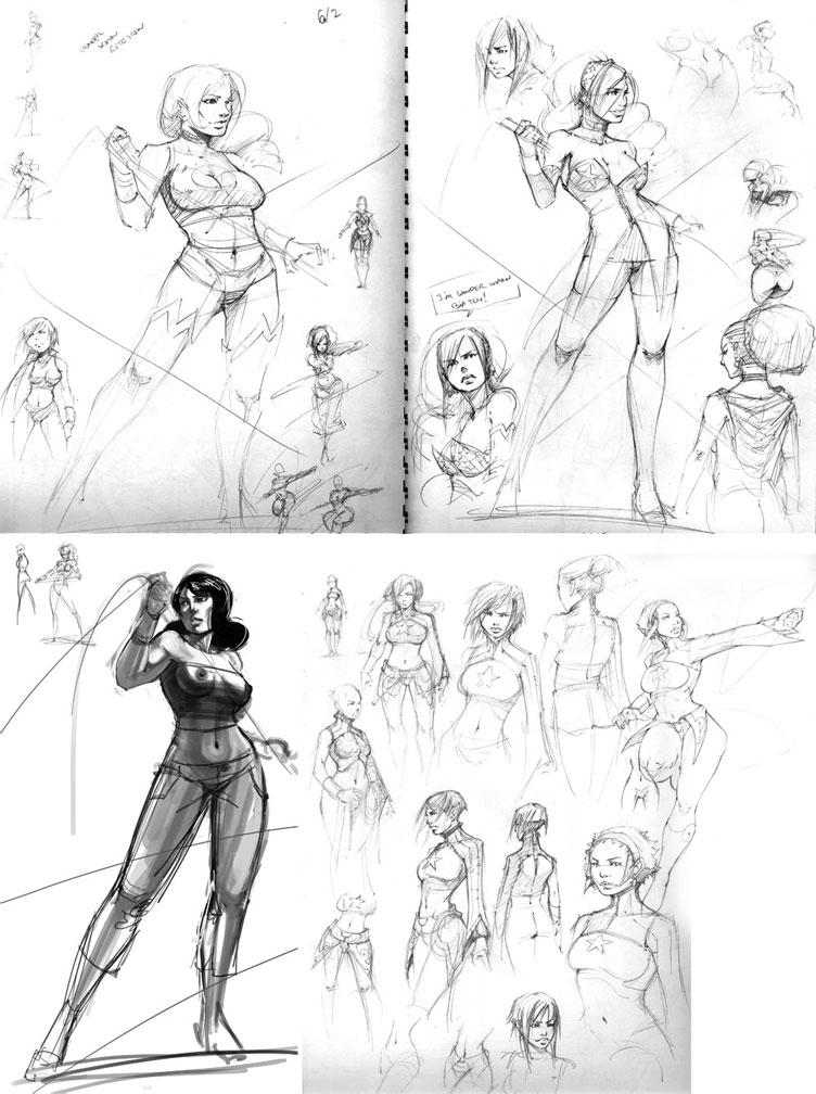 ReDes WonderWoman Sketches by kasai