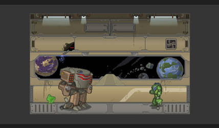 Sci fi level pixel art by justinmanas