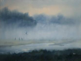 Cranes in the morning fog by JoachimL