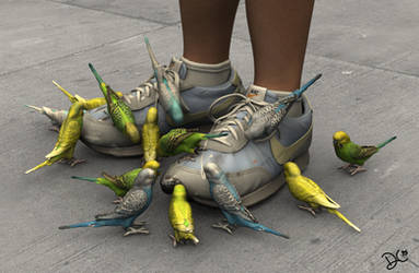 3D Printable Still Life: Parakeets and Shoes by TempestWorks