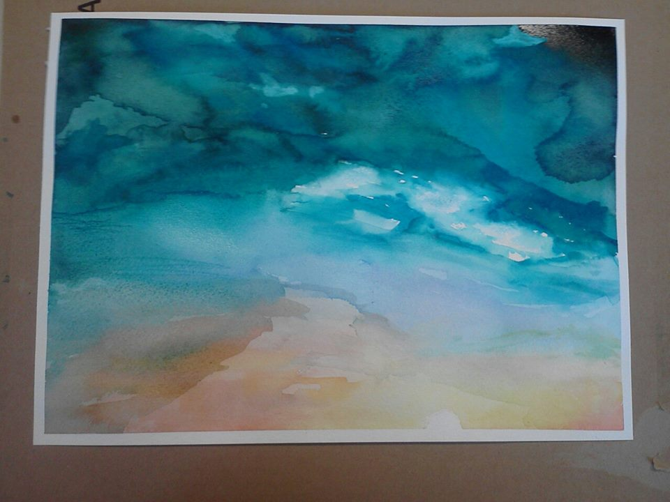 My first watercolor piece sunset by marianimeluver on for My first watercolor painting