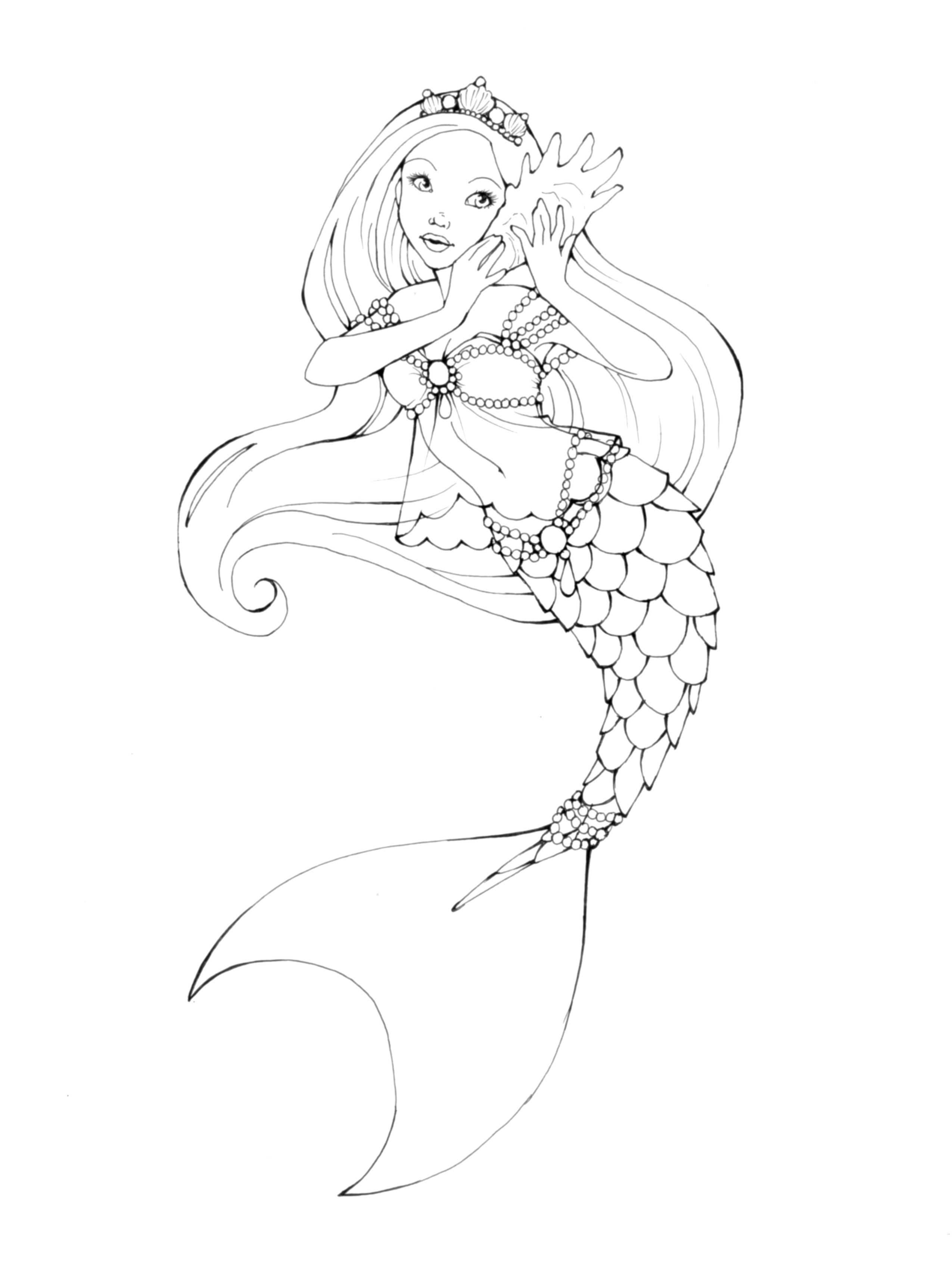 Mermaid by theoriginalginger on deviantart for Realistic mermaid coloring pages