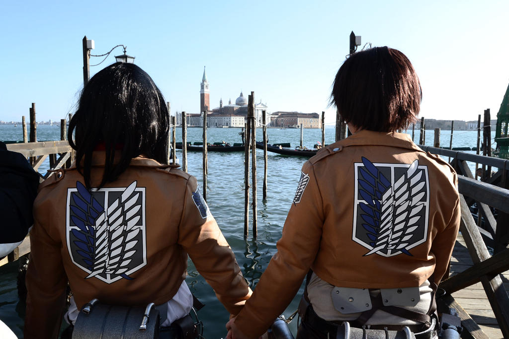 Eren Jaeger and Mikasa Ackerman by suicidaltitan