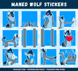 Maned Wolf Bunanah Stickers