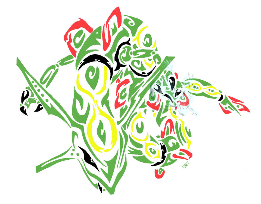 colored tribal rayquaza by neodragonarts on DeviantArt