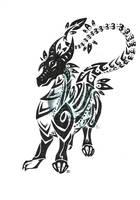 tribal black dragon by neodragonarts