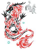 tribal oriental dragon tattoo by neodragonarts