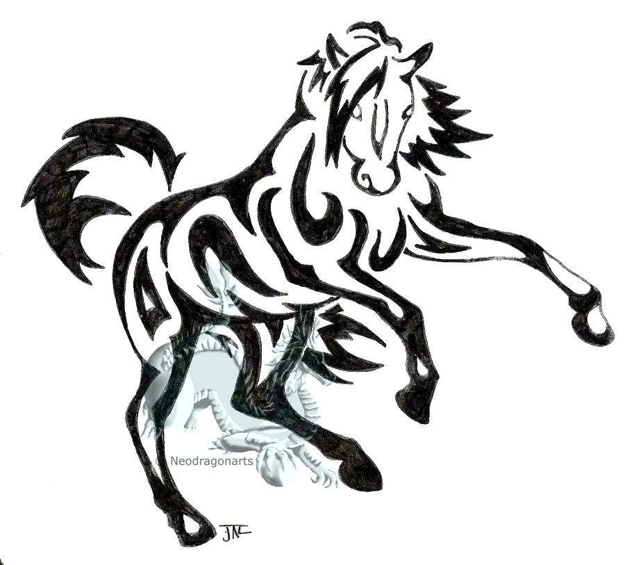tribal horse by neodragonarts
