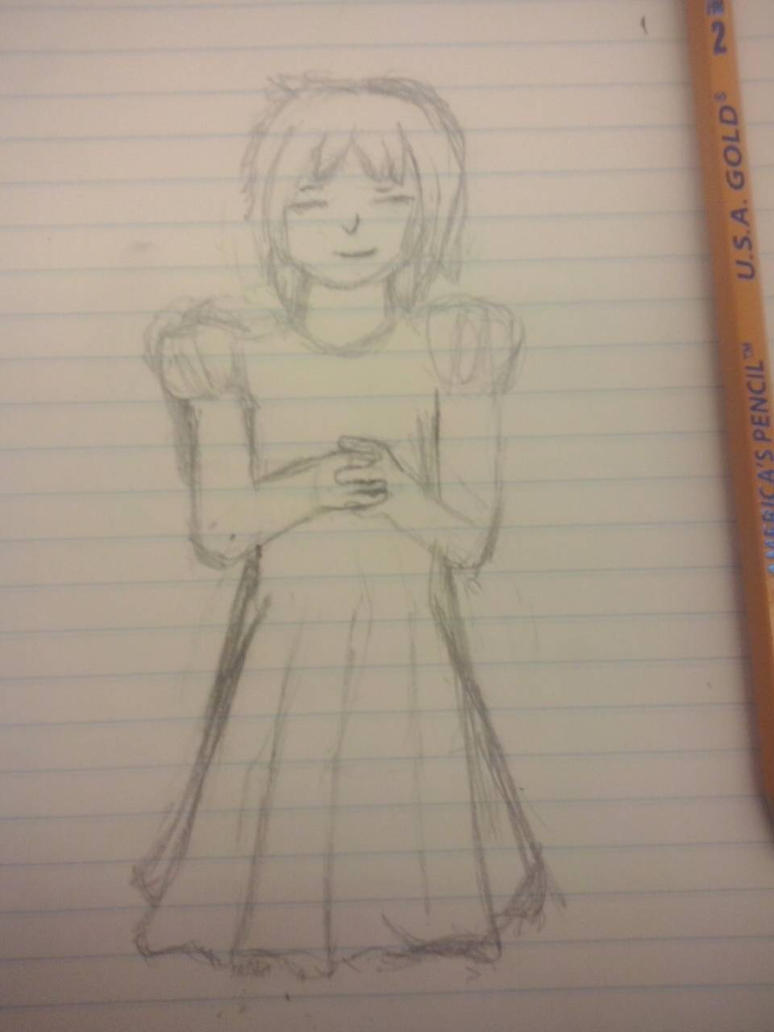 Rough sketch of Frisk in dress by FNOKitty