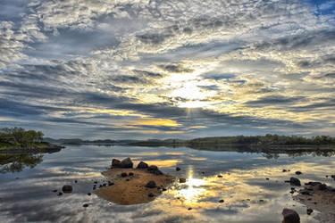 1871 Midnight sun at the lake by RealMantis
