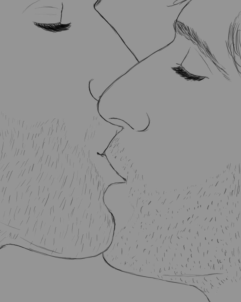 Male Kiss Daily sketch #470 by GothicVampireFreak