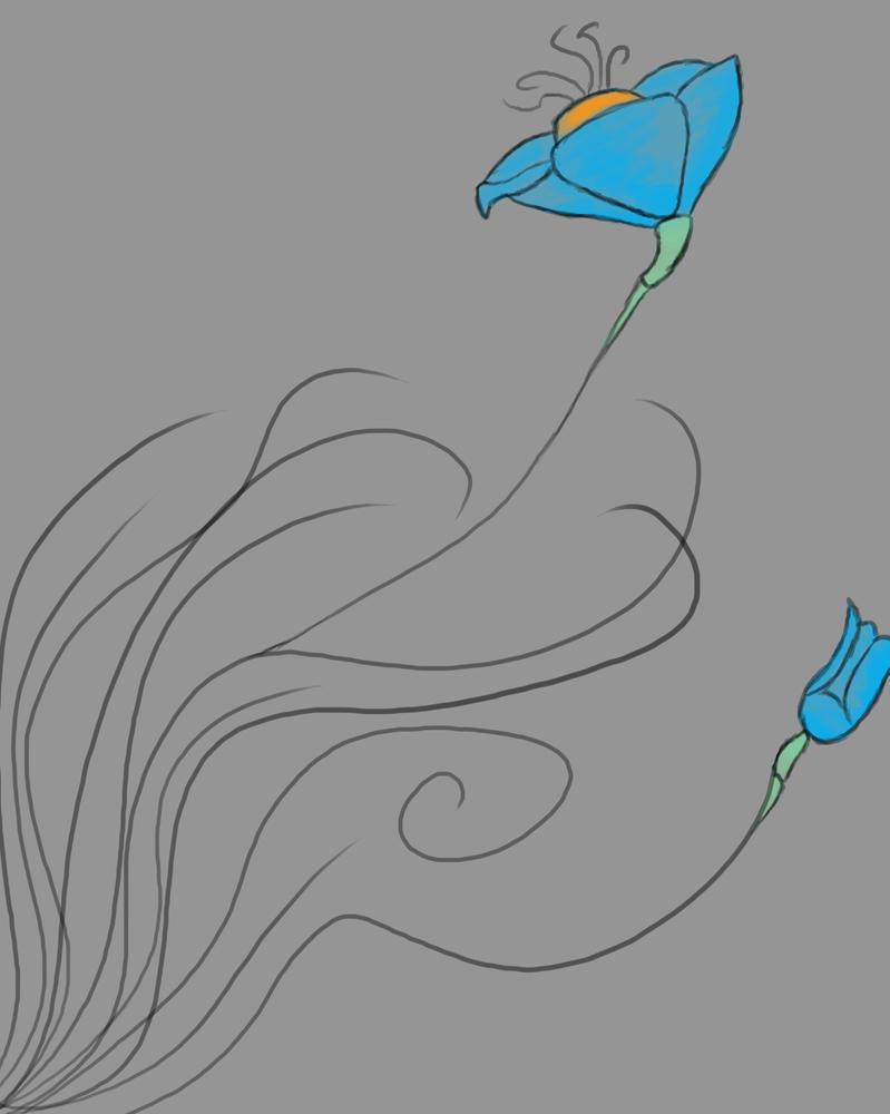 Blue Flowers Daily sketch #645 by GothicVampireFreak