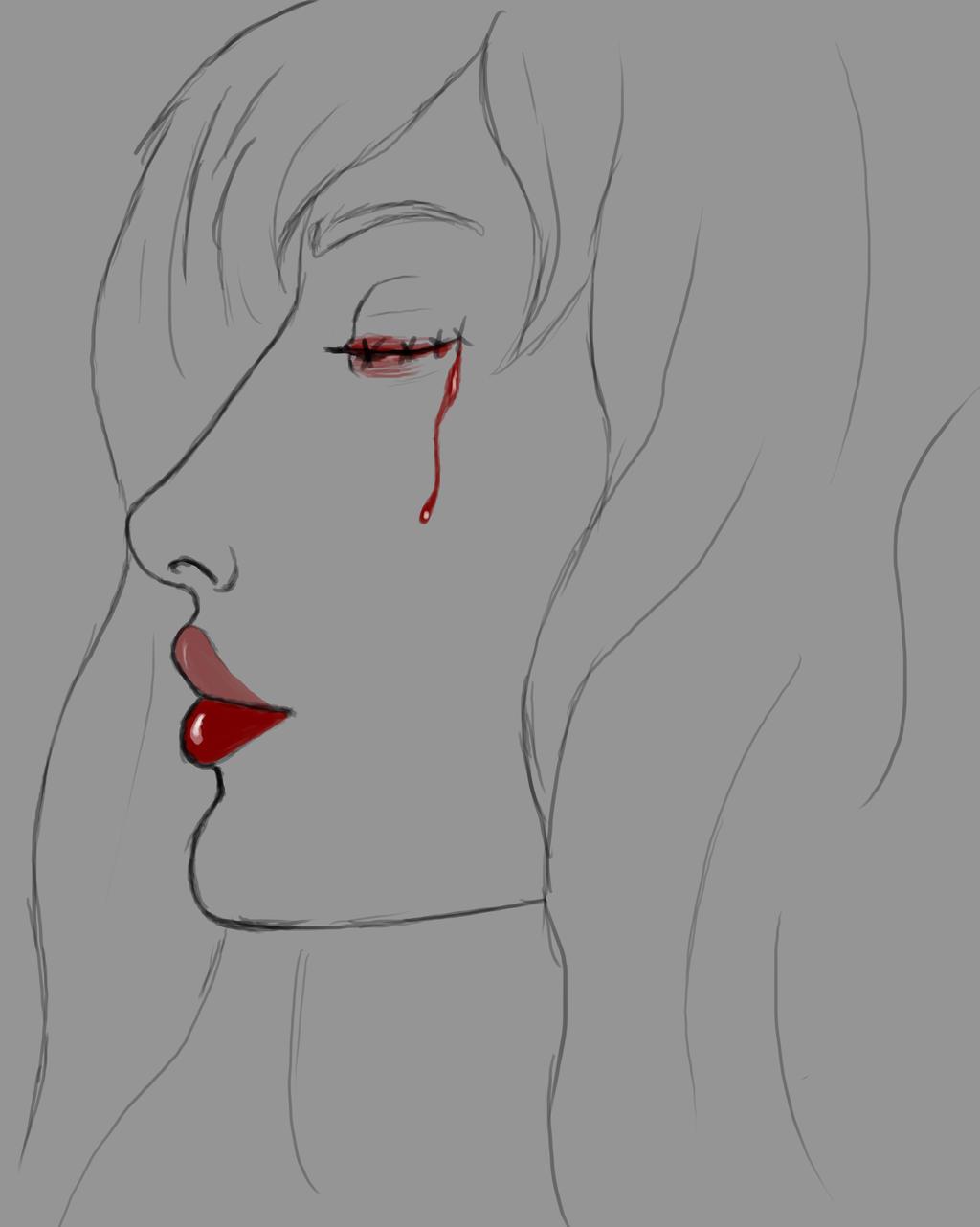 Red Eyed Daily sketch #671 by GothicVampireFreak
