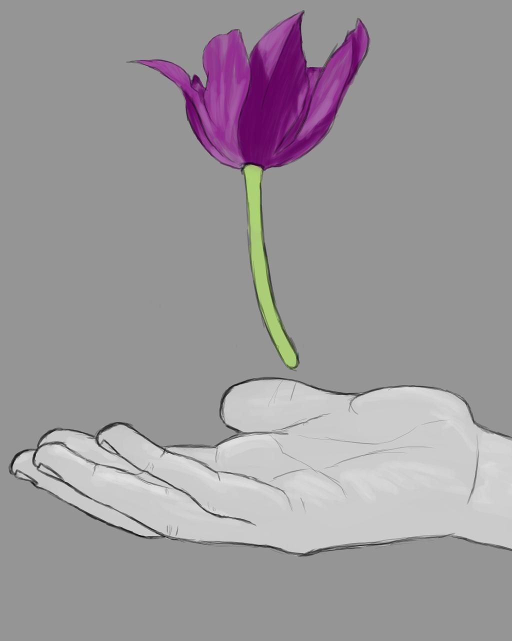 Flower Hand Daily sketch #743 by GothicVampireFreak