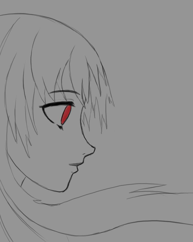 Red Eye Girl Daily sketch #834 by GothicVampireFreak
