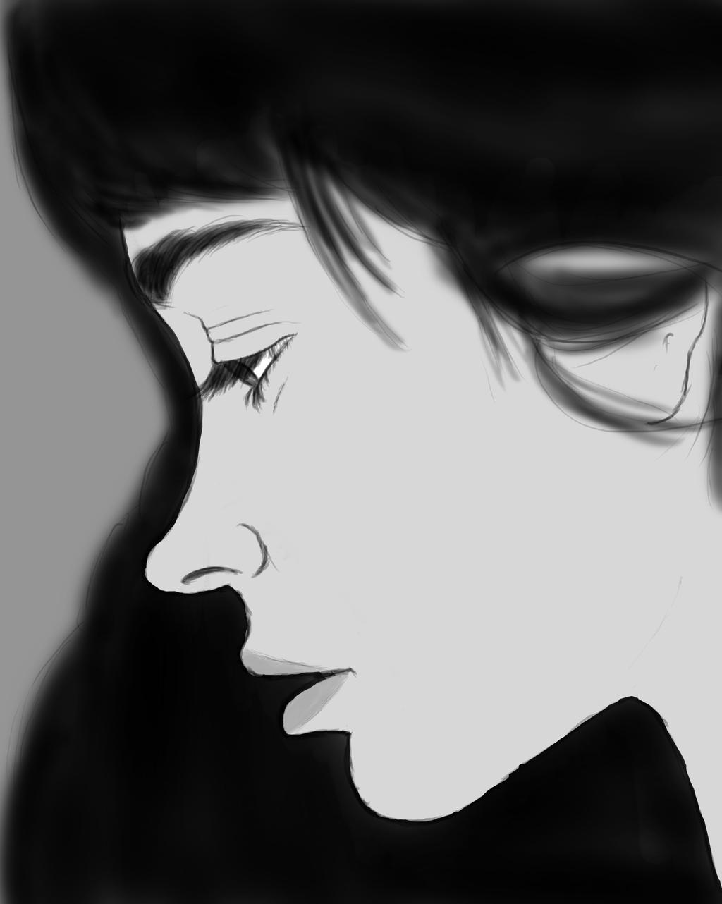 Dark Haired Girl Daily sketch #842 by GothicVampireFreak