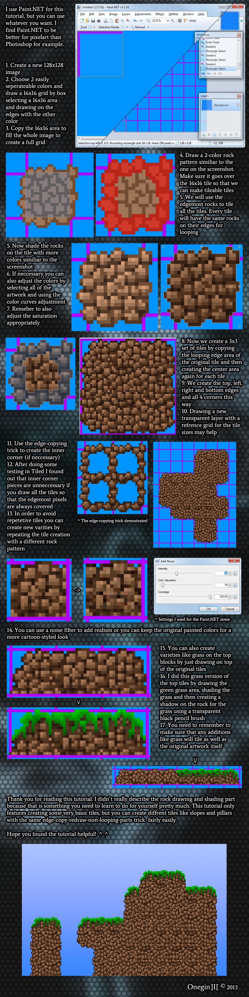 16x16 Pixelart rock wall tileset tutorial by OneginIII