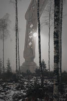 Robot in a Misty Forest by OneginIII