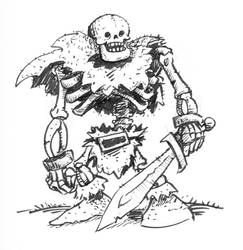 Inktober Scary Skeleton Barbarian