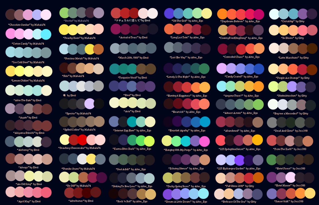 Colour Palettes No 1 By Striped Tie On Deviantart
