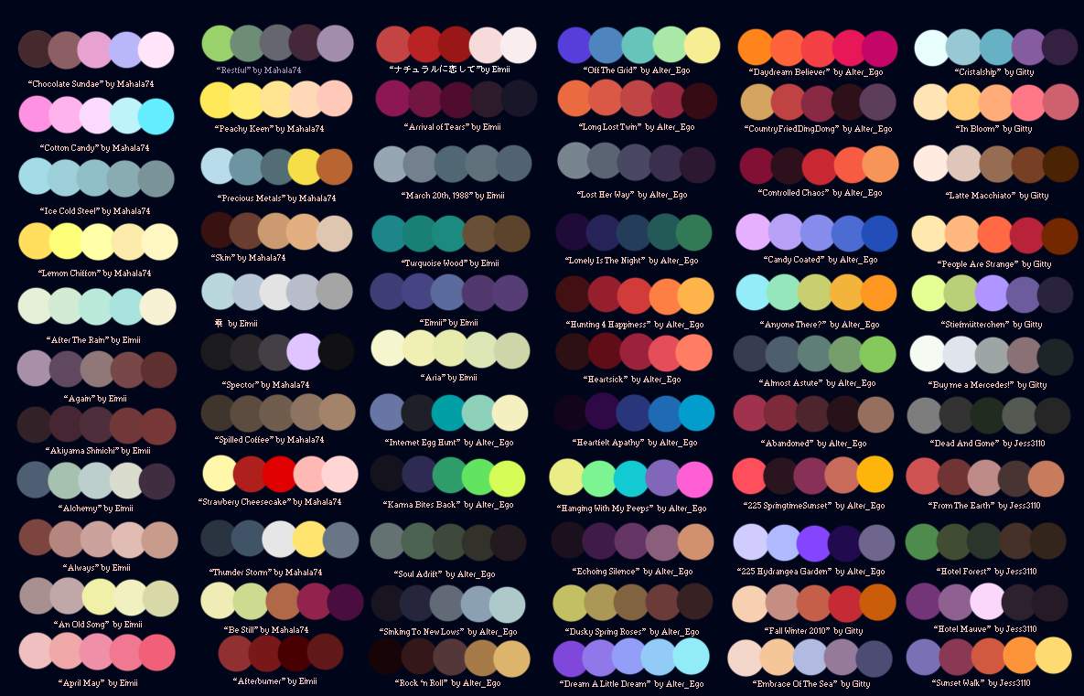 Color Palettes favourites by Love-CaptainADOPTS on DeviantArt