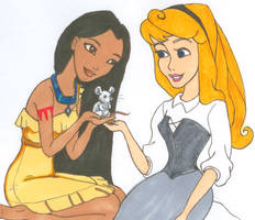 Pocahontas and Aurora by wolfypuppy