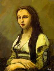 Corot study: Woman with a Pearl by bolsterstone