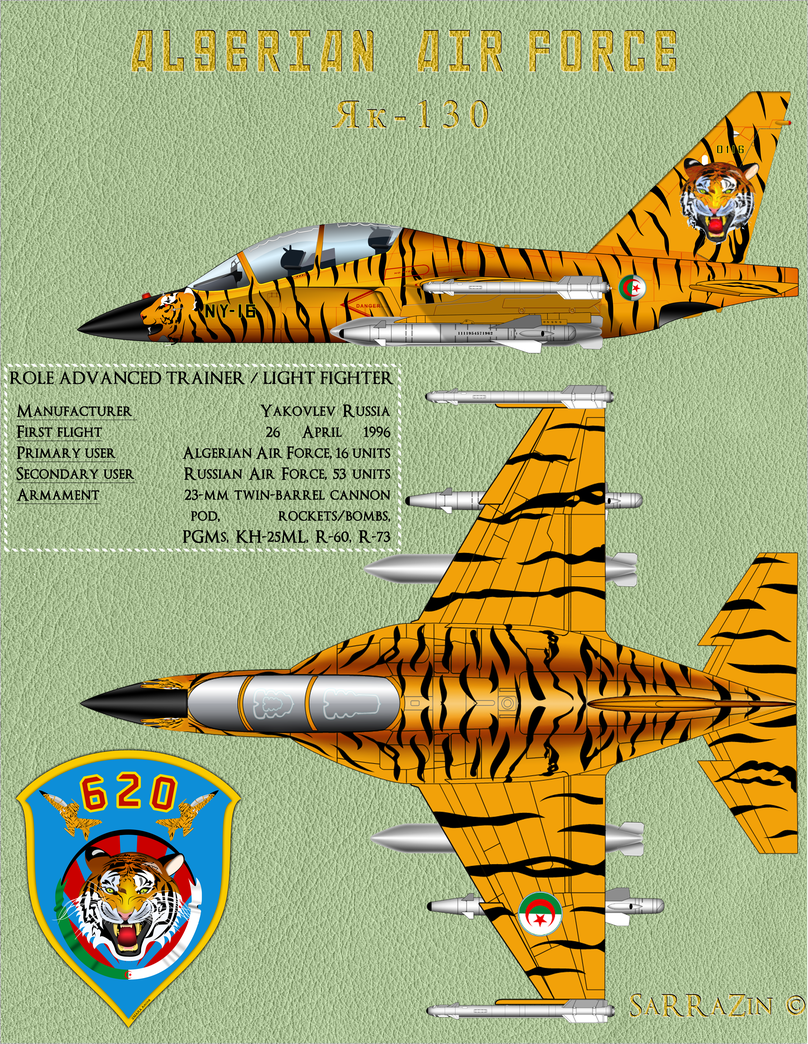 Profile-yak-130 Tiger Algerian air force by SarraZin