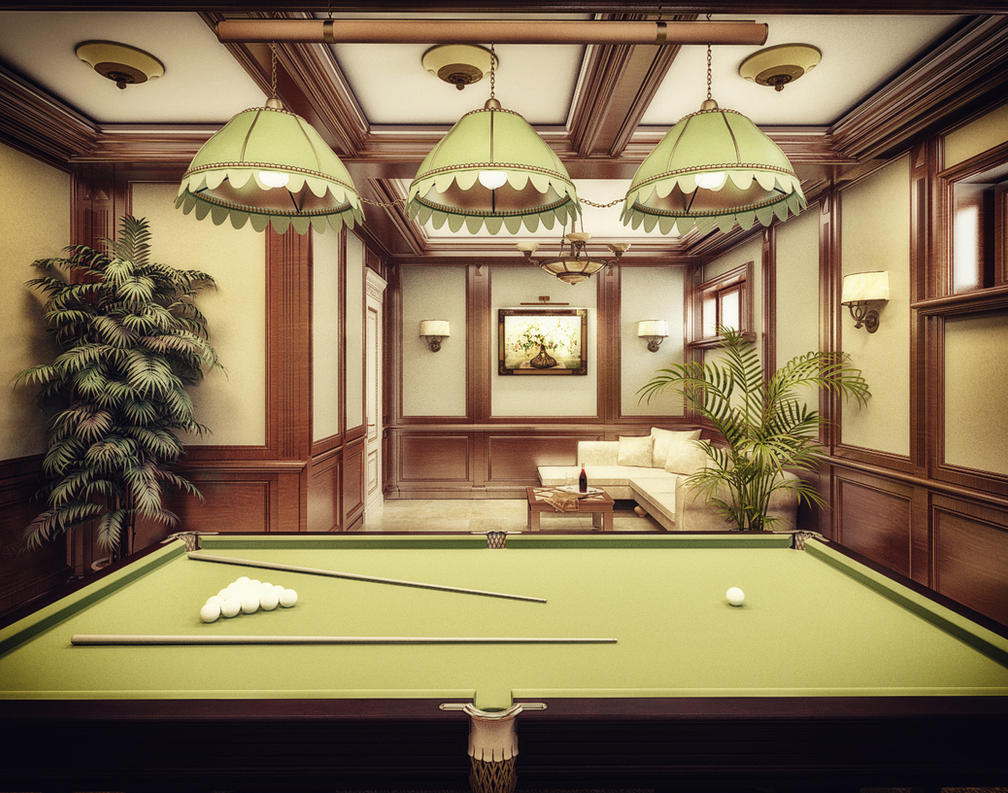 3d billiard room interior design by narminart