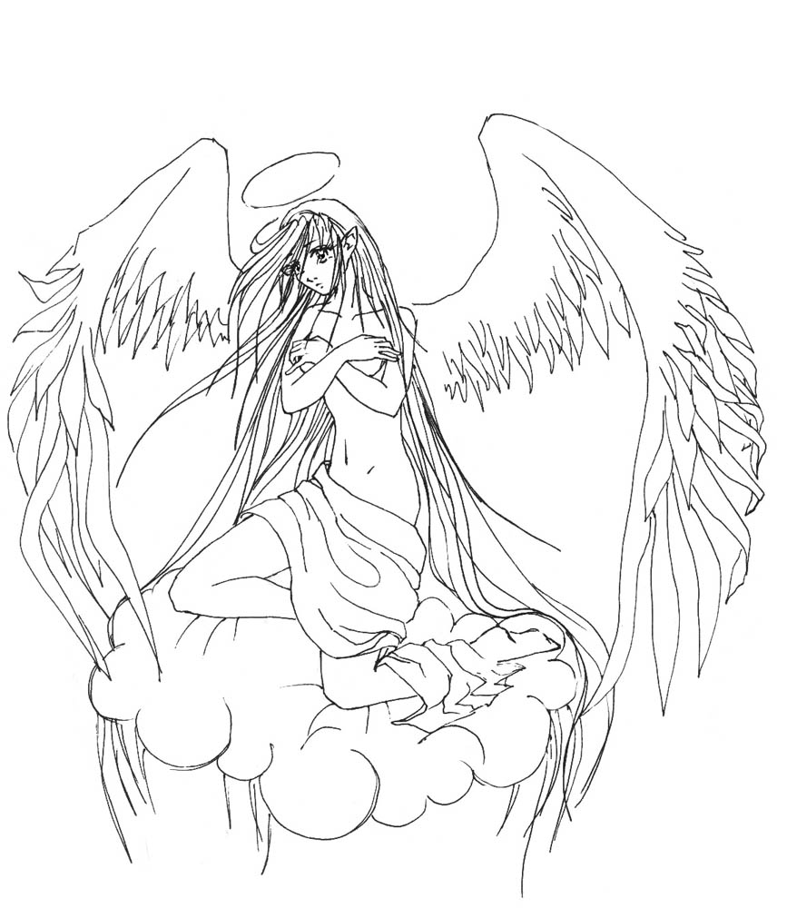 It is a photo of Nerdy Sad Angel Drawing
