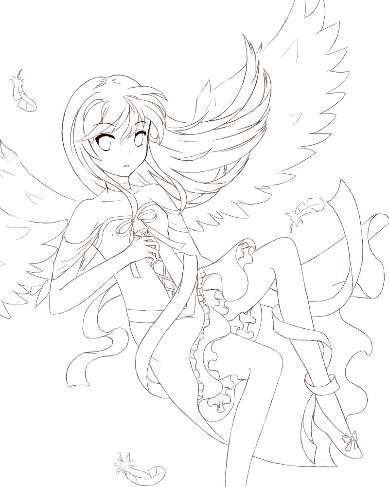 Line Art Angel : Guardian angel line art imgkid the image kid