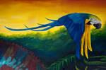 Mural Piece 2- Golden Macaw close up