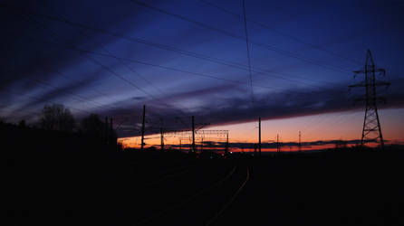 Sunset on the railway