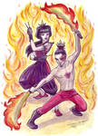 AtLA: Flaming Knives by purplerebecca