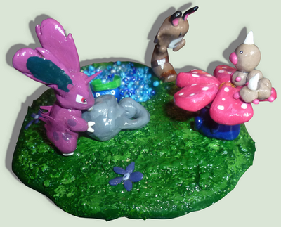 HandMade Figures of pokemons in the nature by TheLittlelight