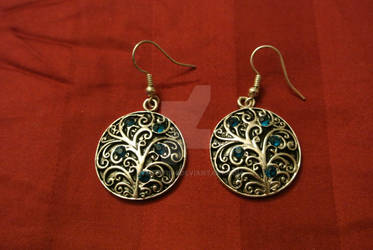 Filigree silver/blue earrings