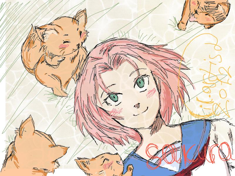 Sakura and Narufoxs by lil-artist5