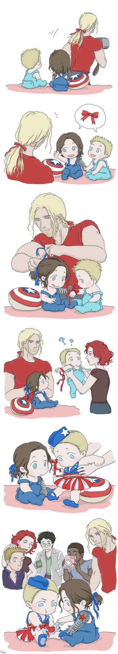 Steve and Bucky babies: Ribbon by SilasSamle