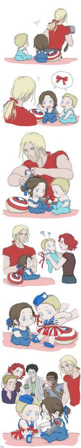 Steve and Bucky babies: Ribbon