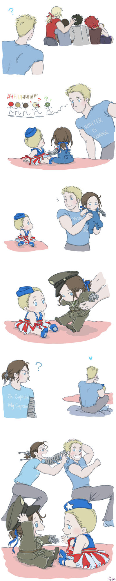 Steve and Bucky Babies: Ribbon 2 by SilasSamle