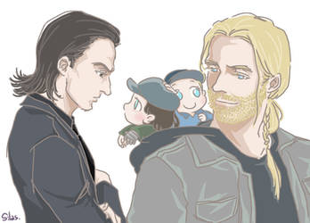 Thor and Loki and Baby Steve and Bucky