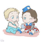 Commission: Baby Steve and Baby Bucky in skirt