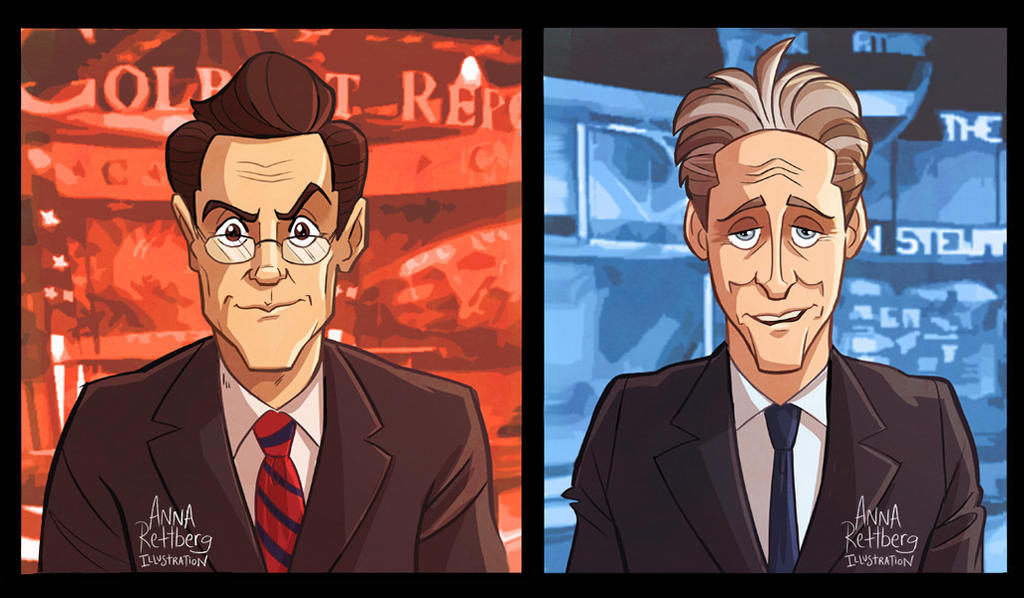 Colbert and Stewart by aerettberg