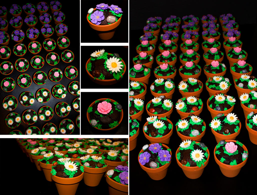 flower pot cupcakes by l337Jacqui