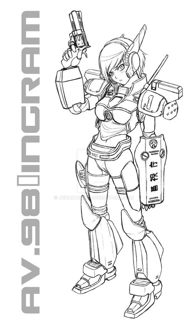 AV-98 Ingram Musume sketch by jehanaruto