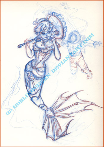 Diving Belle Sketch by GoblinQueeen
